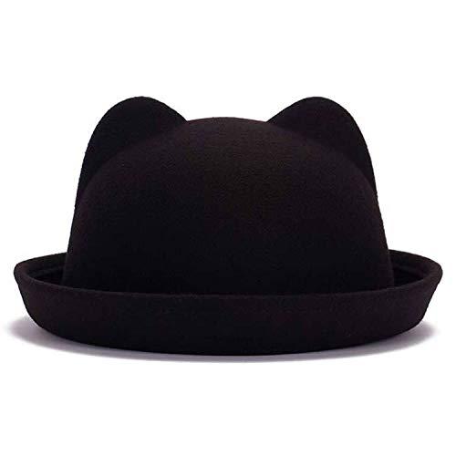 Ilense Fashion Parent-Child Bowler hat Wool Felt Fedora Hats for Women  Girls Children Solid 2a9ec3e0c8ef