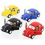 Classic Beetles, Matte Diecast Cars - Set of Four 5 inch Diecast Model Cars Beetle Diecast Model