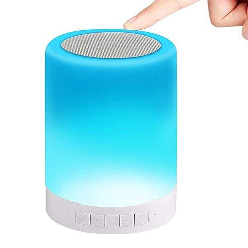 Night Light Bluetooth Speaker 2000mAH Rechargeable Wireless Speaker, Dimmable Bedside Table Light, Gift for Family, Friends,