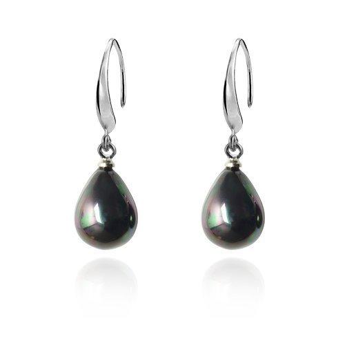 Lureme Teardrop Black Pearl Silver Tone French Hook Dangle Earrings for Women Teen Girls 02001445 Yida