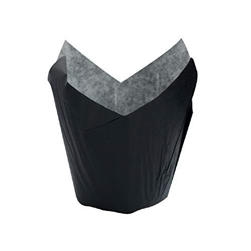 "PacknWood Tulip Black Paper Baking Cups, 1.25-Ounce Capacity, 1.1"" Diameter (Case of 1200)"