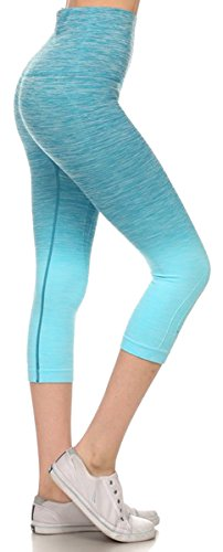 Belle Donne- Women's Legging Capri Legging Ombre Dip Dye Fold Over - Periwinkle/Small