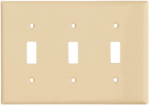Cooper Wiring Devices 5141V-SP-L Nylon 3-Gang Toggle Switch Standard Size Wall Plate, Ivory Cooper Wiring Devices Switchplate