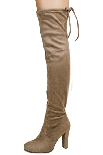 Women's Suede Thigh High Heel Taupe C Faux Chunky Block Knee Heel Over Boots qzOprq