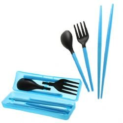 Genial BDS   Travel Utensils Set (Blue; Chopstick, Spoon, And Fork)
