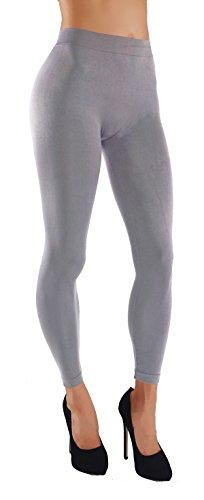 Vesi Star Women's Soft Basic Solid Assorted Color Leggings Wide Waistband Elastic (S/M/L USA 0-6, VS/LG02-L.Gry)