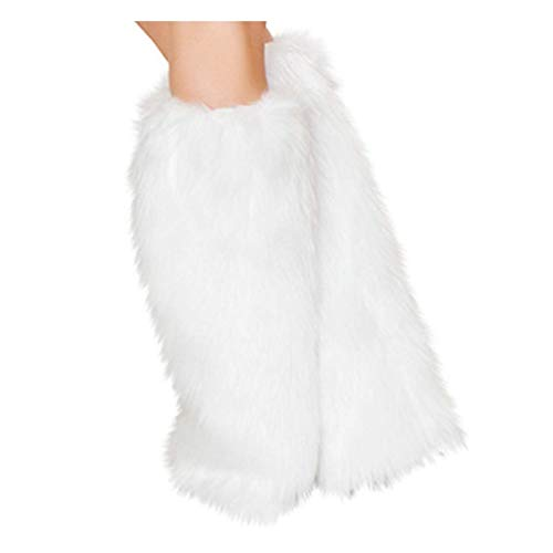 Warmer Women's Leopard Cozy Faux Fur Leg Warmer Boot Cuff Cover(White)]()