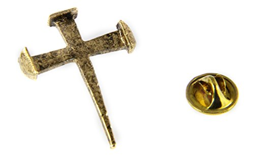 6030273 Rugged Nail Cross Lapel Pin Jesus Christian Nails Brooch Tie -