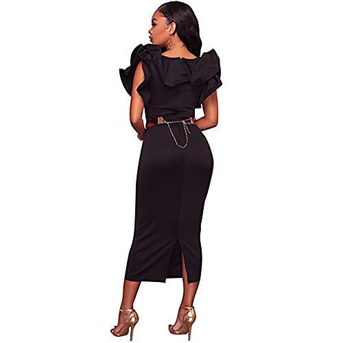 L Delgado Mujer Black Midi TTSKIRT Vaina Vestido URO68q