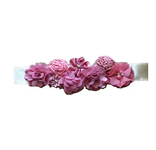 Floral and Crystal Brooch Pins, Corsages, Ribbon Sash Belts and Hair Accessories for Toddlers and Girls. (Mauve Pink Floral Belt) ()