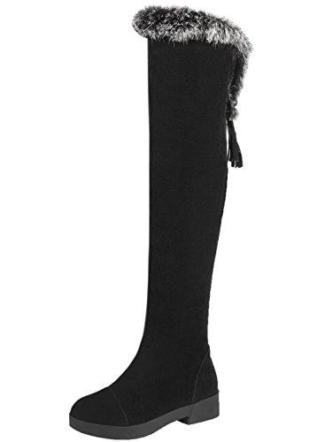 HooH Mujer Botas altas de rodilla Gamuza Invierno Calentar Piel de conejo Borla Colgante Botas altas de rodilla Negro