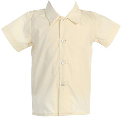 Lito Baby Boys Infant Toddler Ivory Short Sleeved Simple Dress Shirt - 2T ()