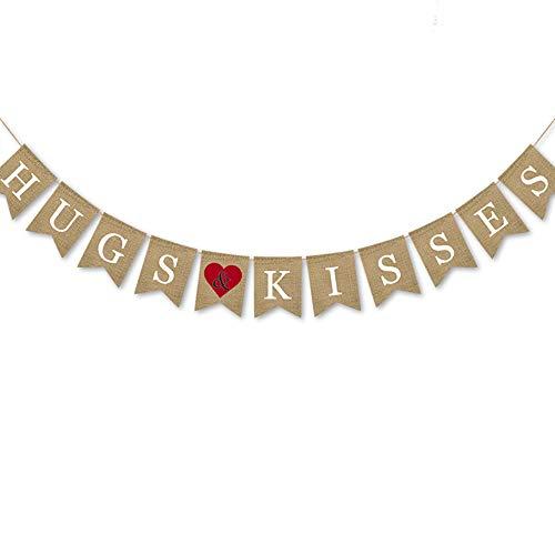 (Rainlemon Jute Burlap Hugs Kisses Banner with Heart Valentine's Day Wedding Bridal Shower Decoration)
