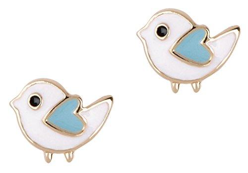 Girl Nation Little Treasures Collection Enamel Bitty Bird Post Earrings, White