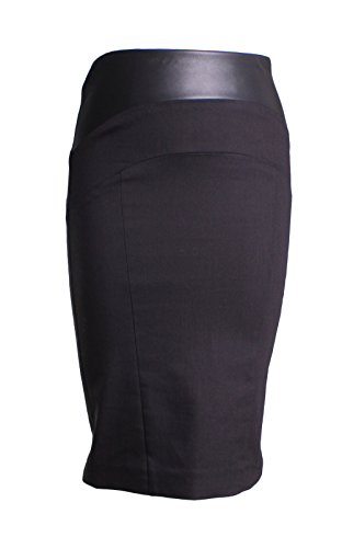 Nicole Miller Stretch Twill Seamed Leather Panel Pencil Skirt in Black Size (Nicole Stretch Skirt)