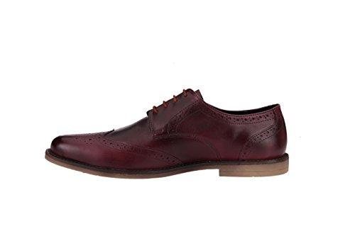 Jacksin - Zapatos de cordones de Piel para hombre rojo granate