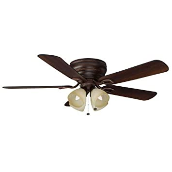 hunter 54 bronze ceiling fan with light premier remote control white blades