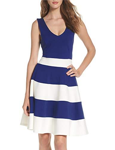 - Lamilus Women's Sleeveless Stripes V-Neck Fit & Flare Evening Party Midi Dress,Navy & White,Medium