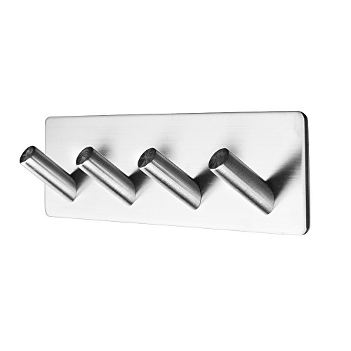 3M Self Adhesive Bathroom Towel Hooks, Stainless Steel Wall Stick Coat Hanger Rack, Robe Hanging Rail for Kitchen Closet Room Office Door (Style 5)