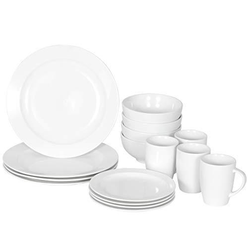 SUPER DEAL Round 16-Piece White Kitchen Dinnerware Set, Service for 4, Plates Bowls Mugs– Microwave, Oven and Dishwasher…