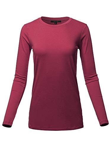 Basic Solid Soft Cotton Long Sleeve Crew Neck Top Shirts Cabernet S ()
