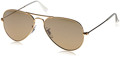 Ray-Ban 3025 Aviator Large Metal Mirrored Non-Polarized Sunglasses, Gold/Brown/Silver Mirror (001/3K), 55mm Brown Polarized Silver Mirror