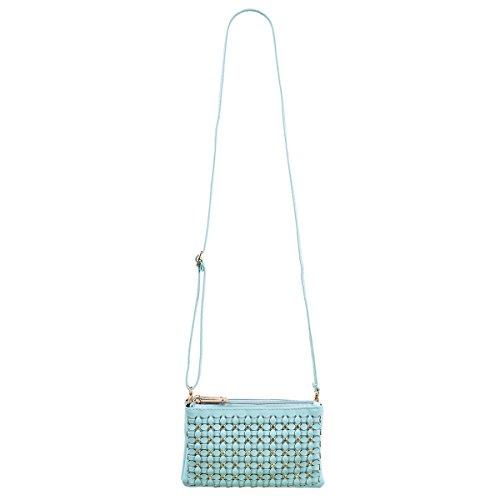 Wristlet Rhinestone Clutch Leather Blue Soft Light Braided Bag PU Floral Wallet Crossbody XwUfwIYq