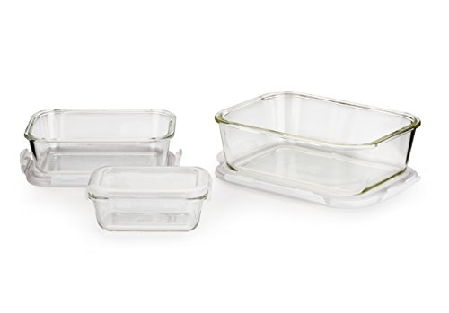 - LOCK & LOCK LLG455S3A OVENGLASS Glass Food Storage Container, 6-Piece, Clear