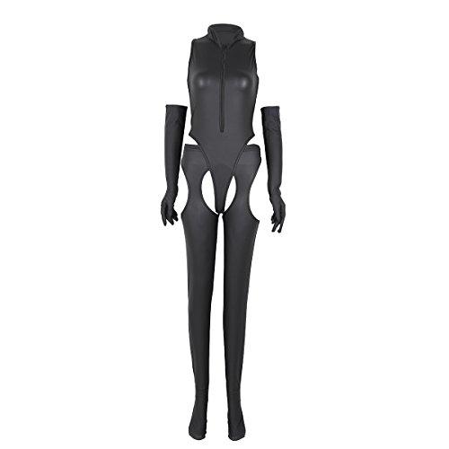 YiZYiF Sexy Catwoman Faux Leather Jumpsuit 4 Pieces Set Black Romper Dance Suit Large