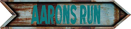 "Any and All Graphics AARONSBURG 4""x18"" Arrow Shaped Rustic Antique Vintage Look Composite Aluminum Novelty décor Sign."