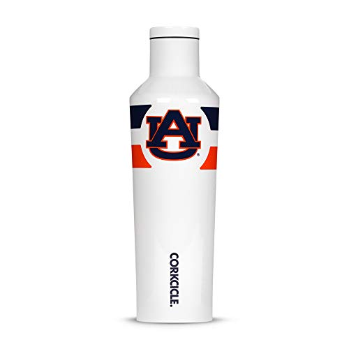 Corkcicle Canteen - 16oz NCAA Triple Insulated Stainless Steel Water Bottle, Auburn University Tigers, Gym Stripe ()