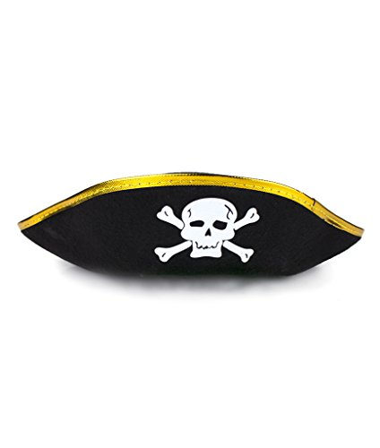 [Fun Central AT853 Felt Pirate Hat for Kids - Black and Gold] (Pirate Theme Party Costumes)