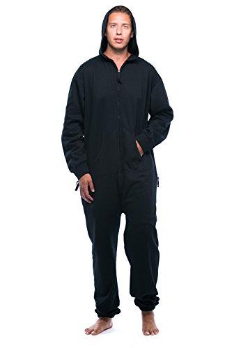 #followme 6435-BLK-L Jumpsuit Adult Onesie Pajamas Black