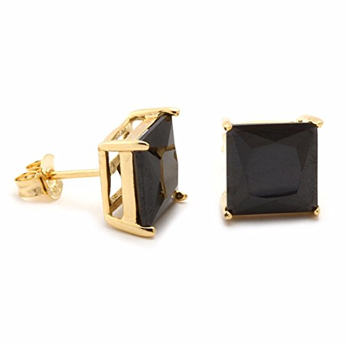 Lanroque 14k Yellow Gold Hypoallergenic Princess Cut Black Cubic Zirconia Stud Earrings for Men and Women