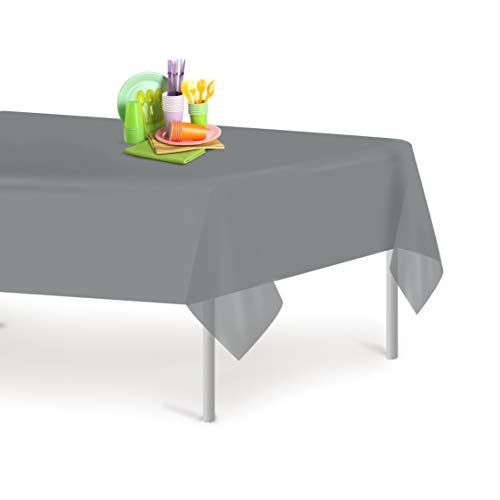 Silver 6 Pack Premium Disposable Plastic Tablecloth 54