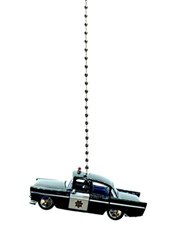 Police, Fire, Rescue Diecast Car Ceiling Fan Light Chain Pull Ornaments (1950s Police Car)]()
