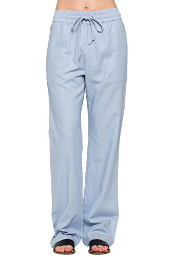 sual Comfy Drawstring Linen Pants Long with Band Waist (S - 3XL) (Powder Blue, Large) ()