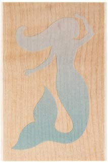 Mermaid Silhouette Stamp Wooden Rubber Scrapbooking