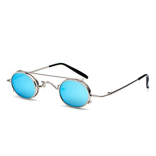 Inlefen Retro Plateado Clamshell Circle Gafas de Desmontables Azul Gafas sol Sunglasses g6qxrgnB0