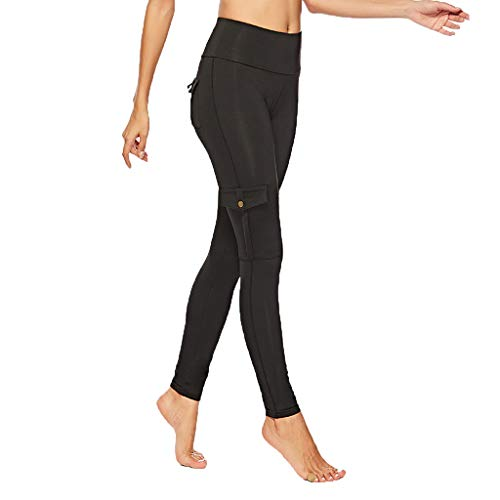 Yoga Pants for Women High Waist with Pockets Slimming Tummy Control Workout Running (XL, Black)