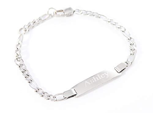 Tina&Co Personalized 14K Gold Plated Baby Name Bracelet Custom Bracelets for Kids Id Protection Bracelet Baptism for Girls-Silver 13