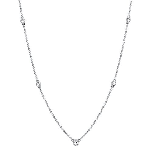 Dazzlingrock Collection 0.30 Carat (ctw) 10K Round White Diamond Ladies Necklace 1/3 CT, White Gold ()