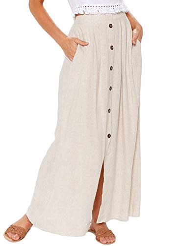 HOTAPEI Ladies Solid Casual Front Button Split High Waist A Line Flare Long Skirts for Women Maxi Skirts with Pockets Beige M
