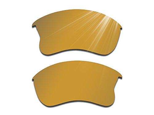Glintbay Harden Coated Replacement Lenses for Oakley Flak Jacket XLJ Sunglasses - Polarized Bronze Gold - Mirror Coated Sunglasses