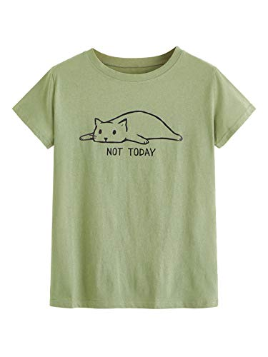 SOLY HUX Not Today Lazy Cute Cat T-Shirt Graphic Short Sleeve Casual Cartoon Tops Army Green Medium Cat Womens Fitted T-shirt