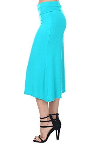 Nolabel B7_012 Womens Kint Comfy Chic Wide Leg Palazzo Gaucho Capri Culottes Pants Fold Over Waistband [Jade/XL]