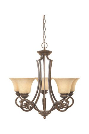 (Forged Sienna Five Light Up Lighting Chandelier from the Mendocino)
