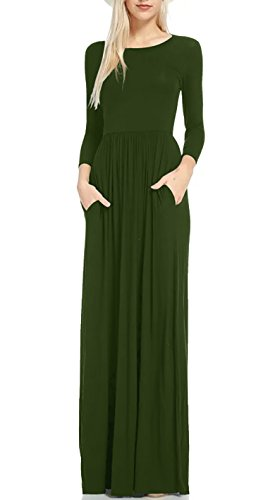 Women's Spring Casual Loose Solid Pocket Maxi Long Dress Army Green 2XL