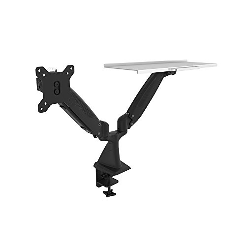 OLLO: Twin Desk Mounted Gas Spring Monitor Mount with Keyboard Holder, Snap-on quick Head, +90º/-85º Tilt, 180º Rotation, 0-18 Lbs. Each Arm, Black, Fits Most 15-27' (WA-2K)