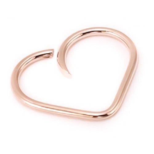 14K Rose Gold Swirl Love Heart Cartilage Hoop Earring 24g 22g 20g 18g 16g Daith Helix Tragus Orbital Rook Snug Auricle Pinna Scaffolding Industrial
